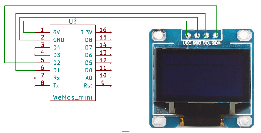 Connect an inexpensive OLED display to a ESP8266/Wemos D1